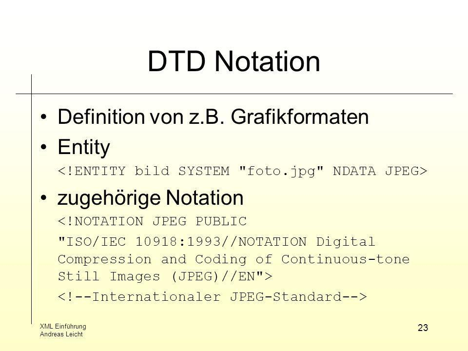 DTD Notation Definition von z.B. Grafikformaten Entity