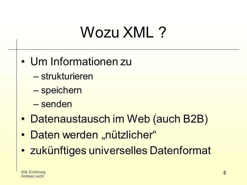Wozu XML Um Informationen zu Datenaustausch im Web (auch B2B)