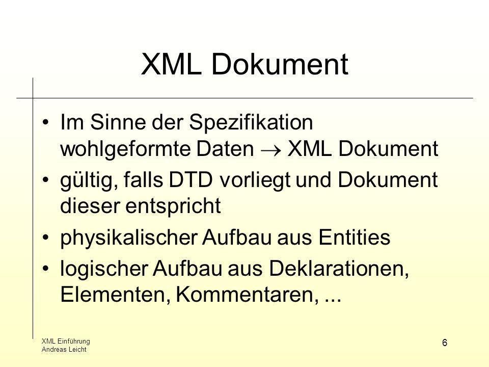 XML Dokument Im Sinne der Spezifikation wohlgeformte Daten  XML Dokument. gültig, falls DTD vorliegt und Dokument dieser entspricht.