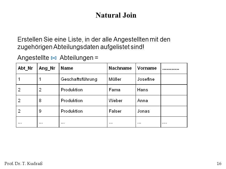 Natural Join Erstellen Sie eine Liste, in der alle Angestellten mit den zugehörigen Abteilungsdaten aufgelistet sind!