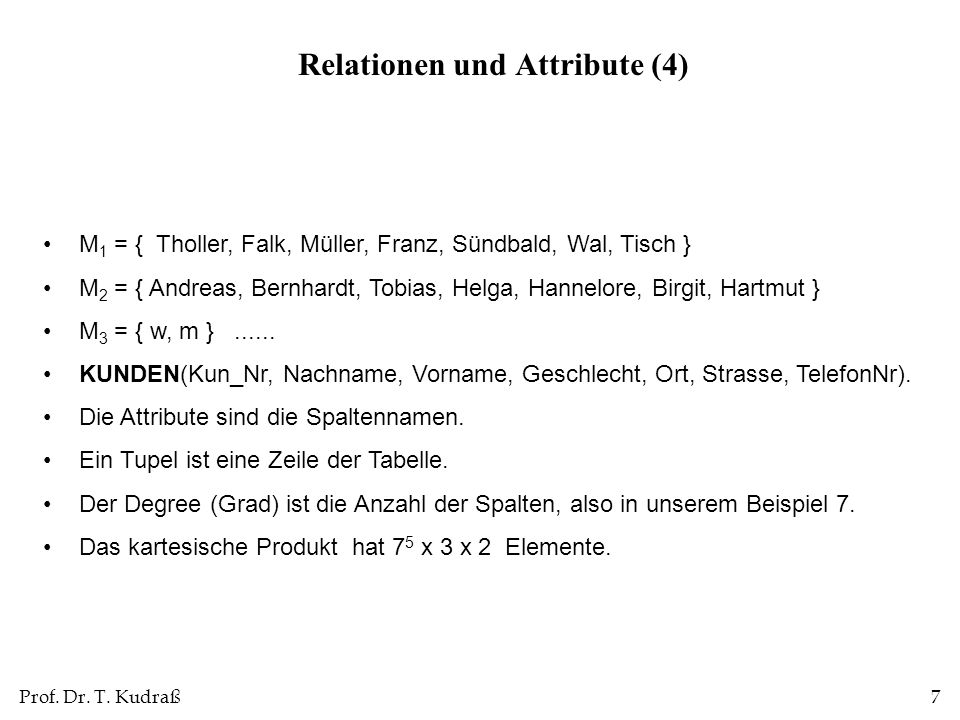 Relationen und Attribute (4)
