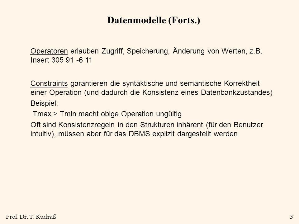 Datenmodelle (Forts.) Operatoren erlauben Zugriff, Speicherung, Änderung von Werten, z.B. Insert 305 91 -6 11.