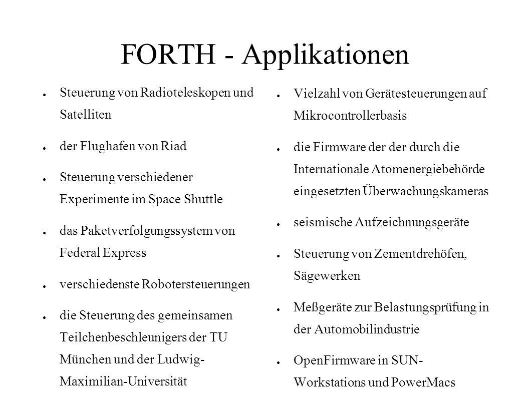 FORTH - Applikationen Steuerung von Radioteleskopen und Satelliten