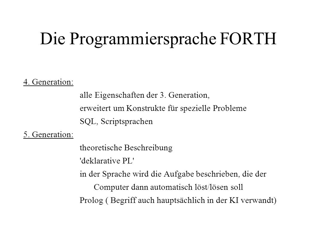 Die Programmiersprache FORTH