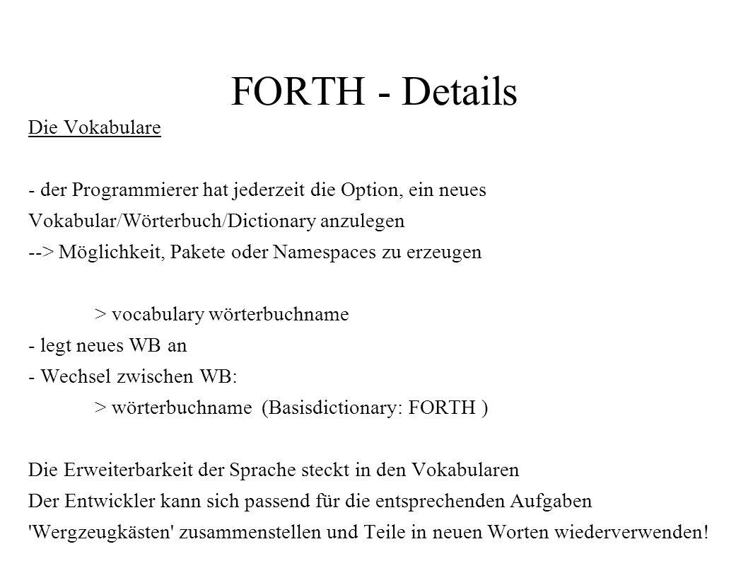 FORTH - Details Die Vokabulare