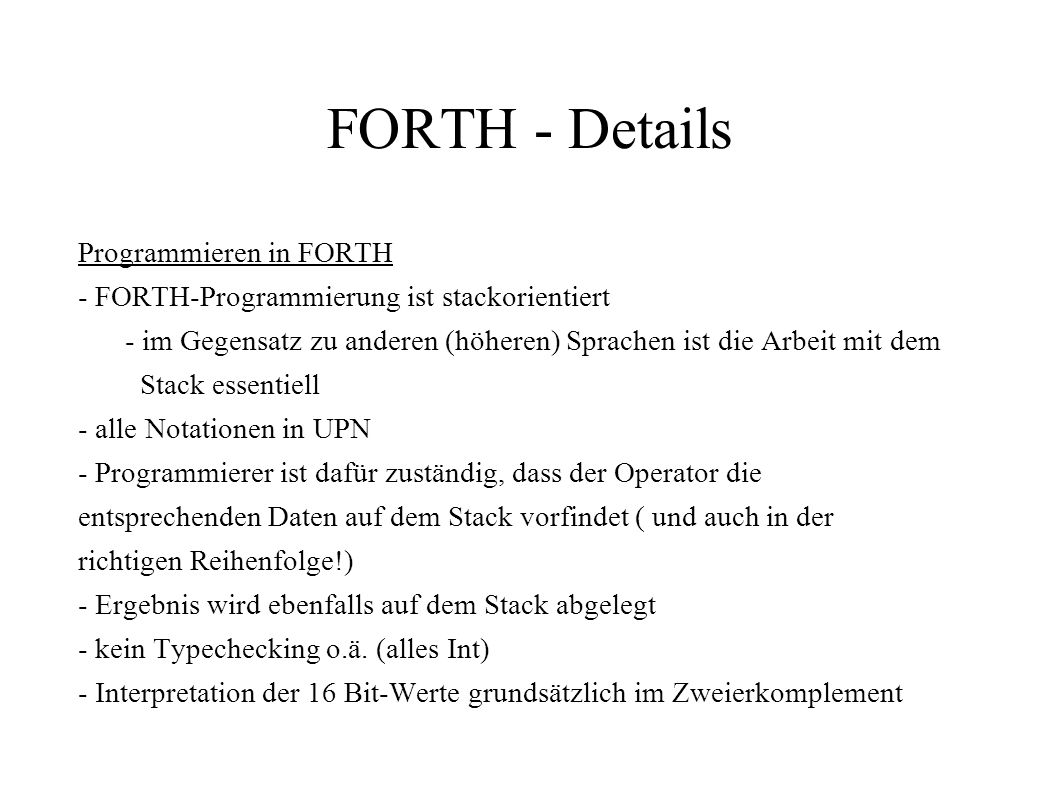 FORTH - Details Programmieren in FORTH
