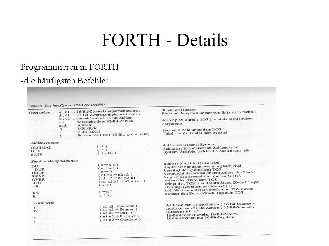 Programmieren in FORTH -die häufigsten Befehle: