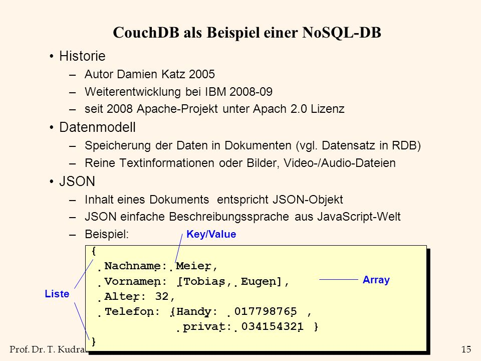 CouchDB als Beispiel einer NoSQL-DB