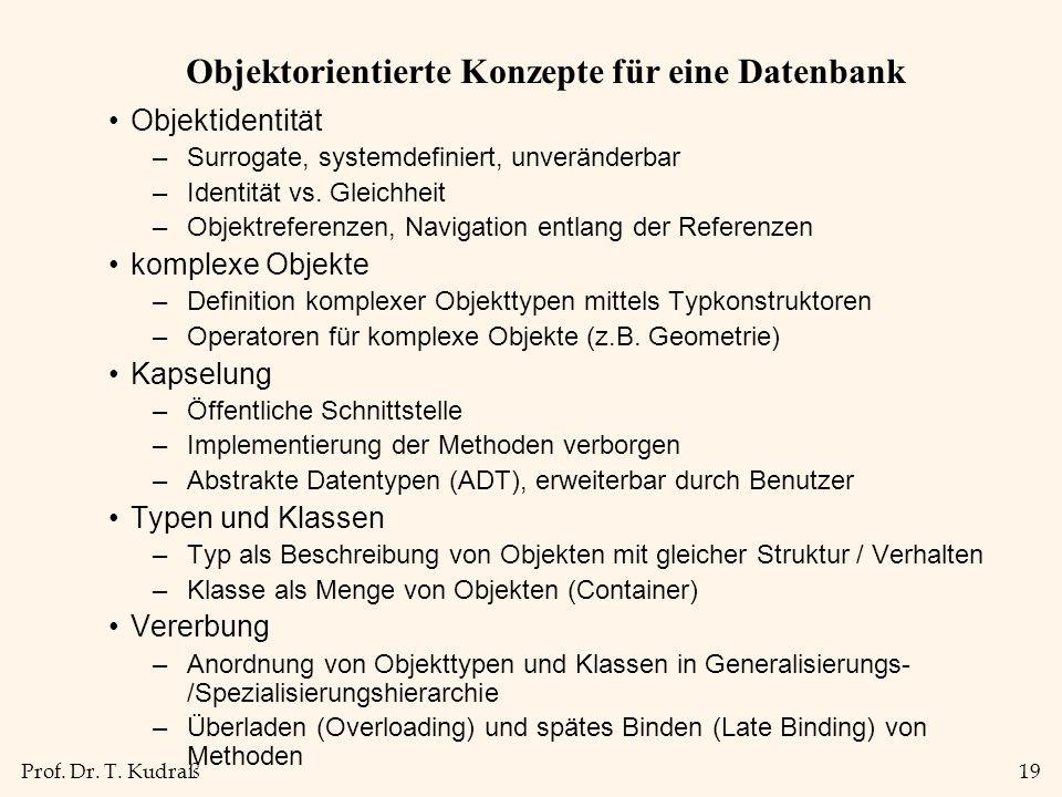 Objektorientierte Konzepte für eine Datenbank