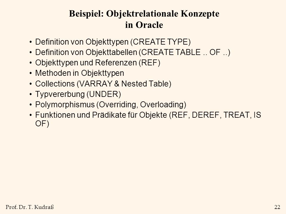 Beispiel: Objektrelationale Konzepte in Oracle