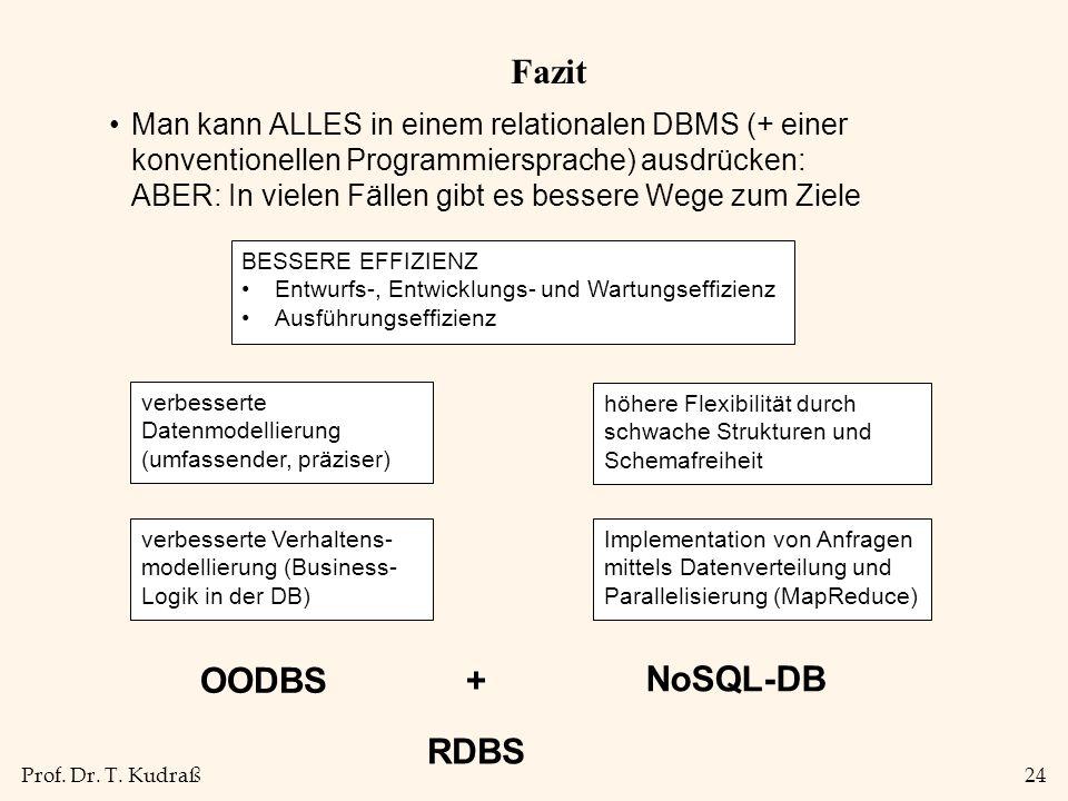 Fazit OODBS + NoSQL-DB RDBS