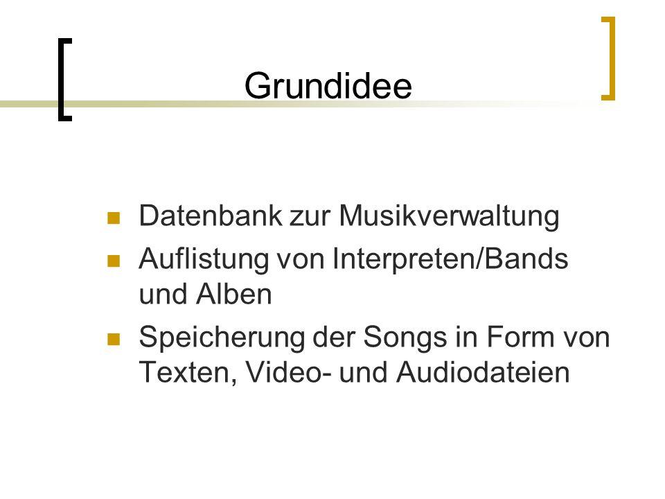 Grundidee Datenbank zur Musikverwaltung