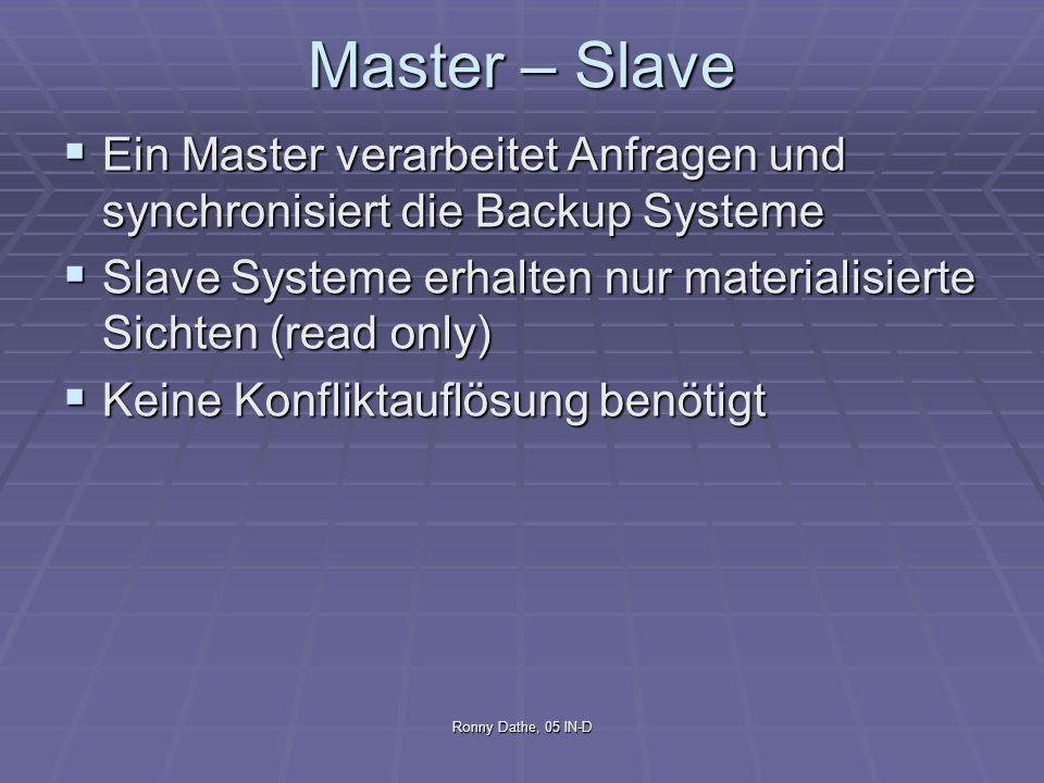Master – Slave Ein Master verarbeitet Anfragen und synchronisiert die Backup Systeme. Slave Systeme erhalten nur materialisierte Sichten (read only)