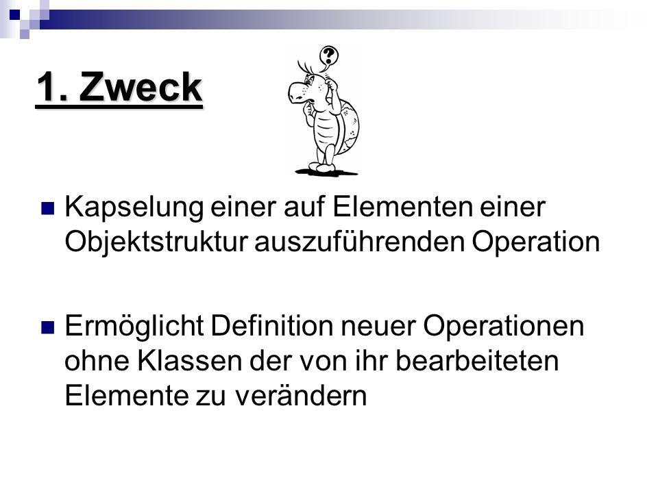 1. Zweck Kapselung einer auf Elementen einer Objektstruktur auszuführenden Operation.