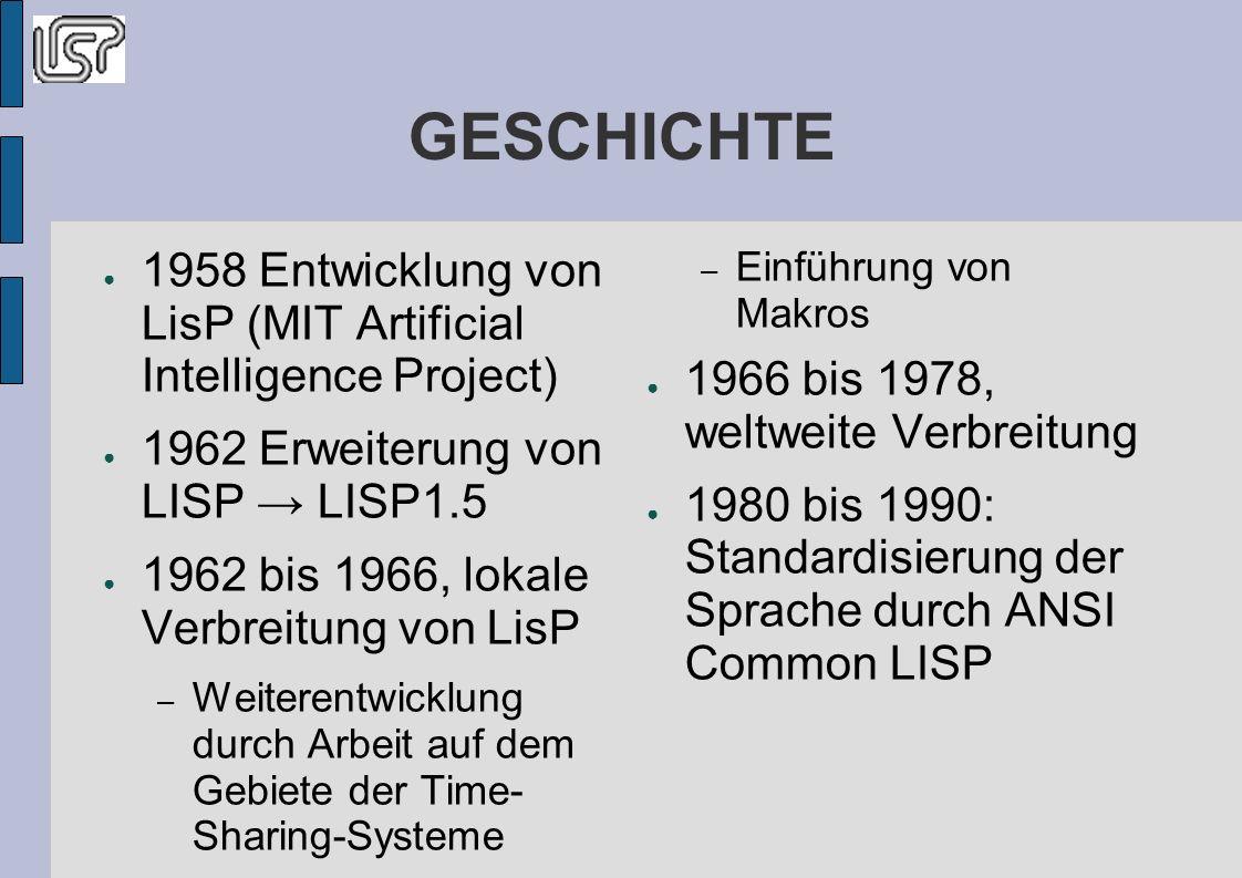 GESCHICHTE 1958 Entwicklung von LisP (MIT Artificial Intelligence Project) 1962 Erweiterung von LISP → LISP1.5.