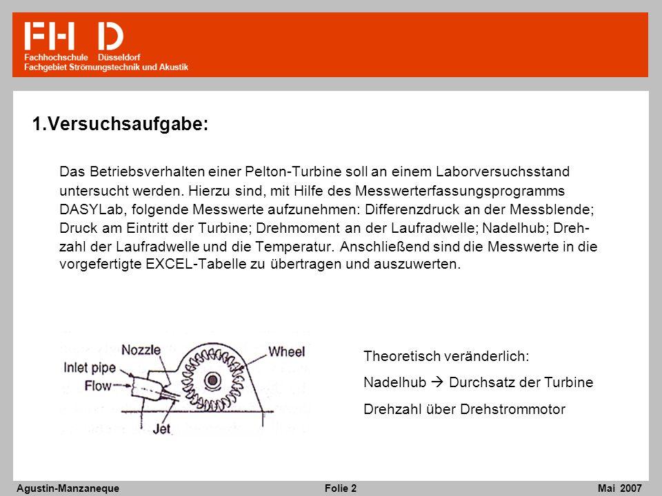 1.Versuchsaufgabe: Das Betriebsverhalten einer Pelton-Turbine soll an einem Laborversuchsstand.