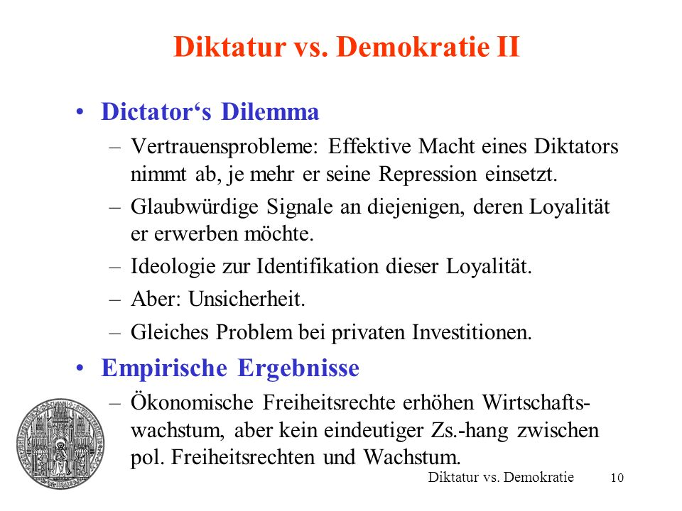 Diktatur vs. Demokratie II