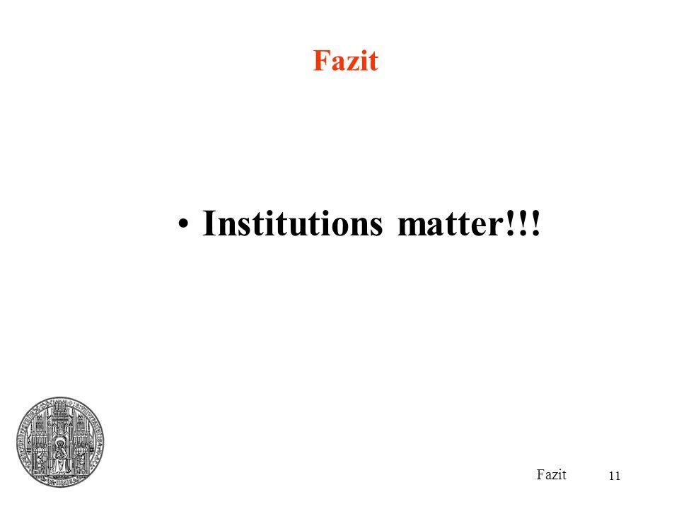 Fazit Institutions matter!!! Fazit