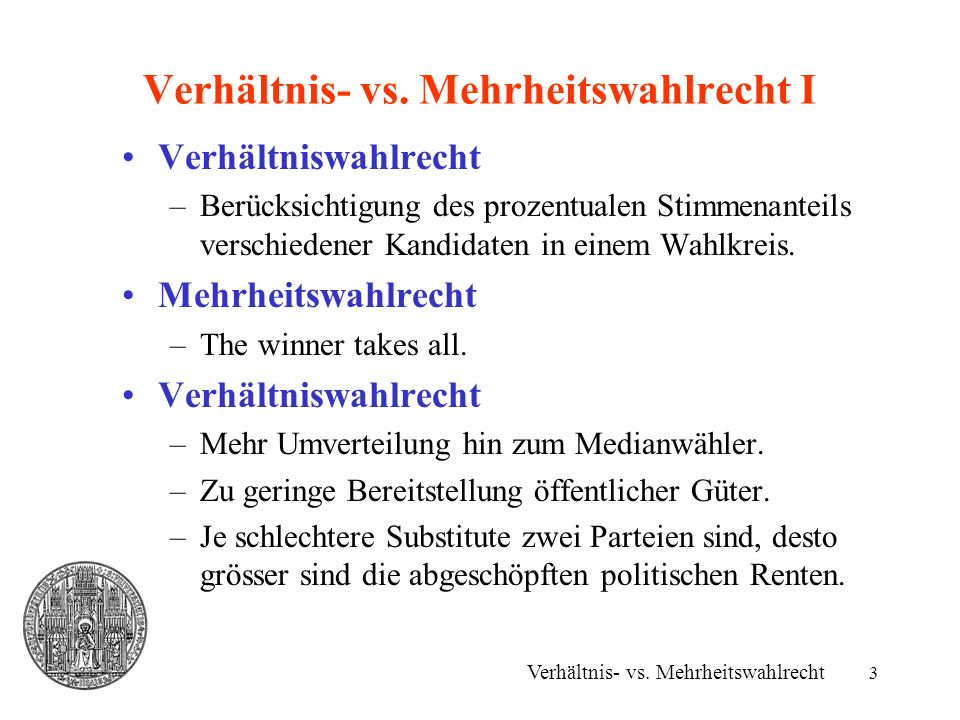 Verhältnis- vs. Mehrheitswahlrecht I