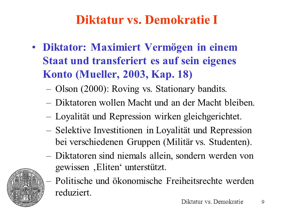 Diktatur vs. Demokratie I