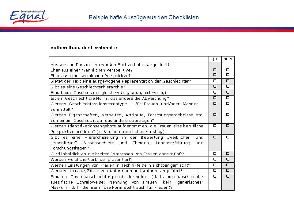 Beispielhafte Auszüge aus den Checklisten