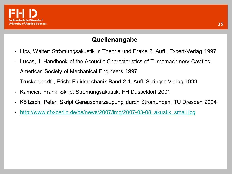 Quellenangabe Lips, Walter: Strömungsakustik in Theorie und Praxis 2. Aufl.. Expert-Verlag 1997.