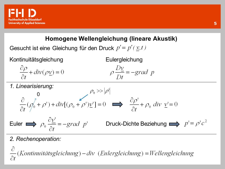 Homogene Wellengleichung (lineare Akustik)
