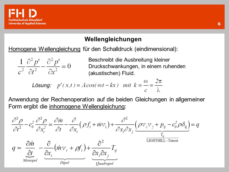 Wellengleichungen Homogene Wellengleichung für den Schalldruck (eindimensional):