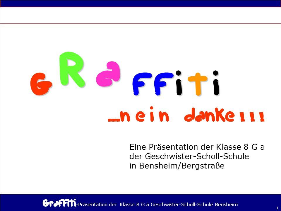 G R a f f i t i ...n e i n danke ! ! ! Eine Präsentation der Klasse 8 G a. der Geschwister-Scholl-Schule.