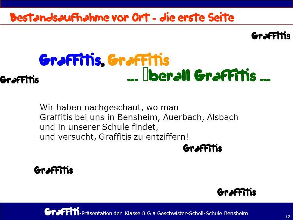Graffitis, Graffitis ... überall Graffitis ...