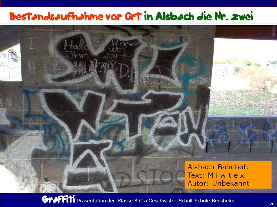 Bestandsaufnahme vor Ort in Alsbach die Nr. zwei
