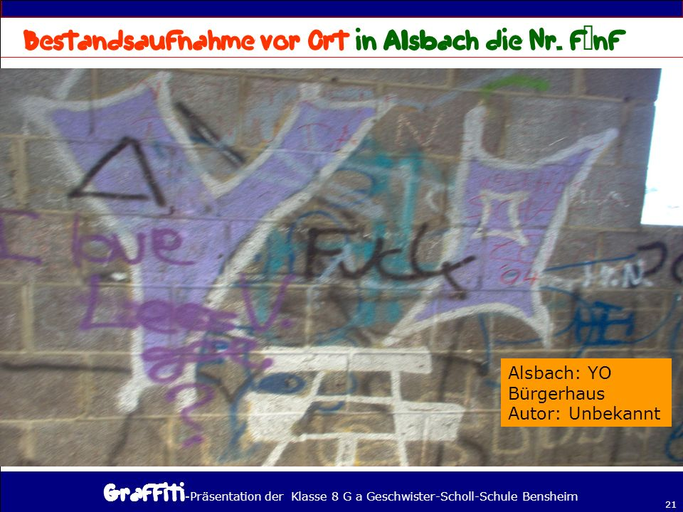 Bestandsaufnahme vor Ort in Alsbach die Nr. fünf