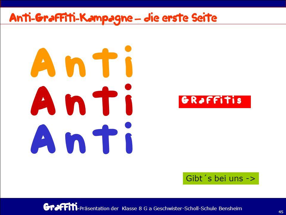 n t i A n t i Anti-Graffiti-Kampagne – die erste Seite