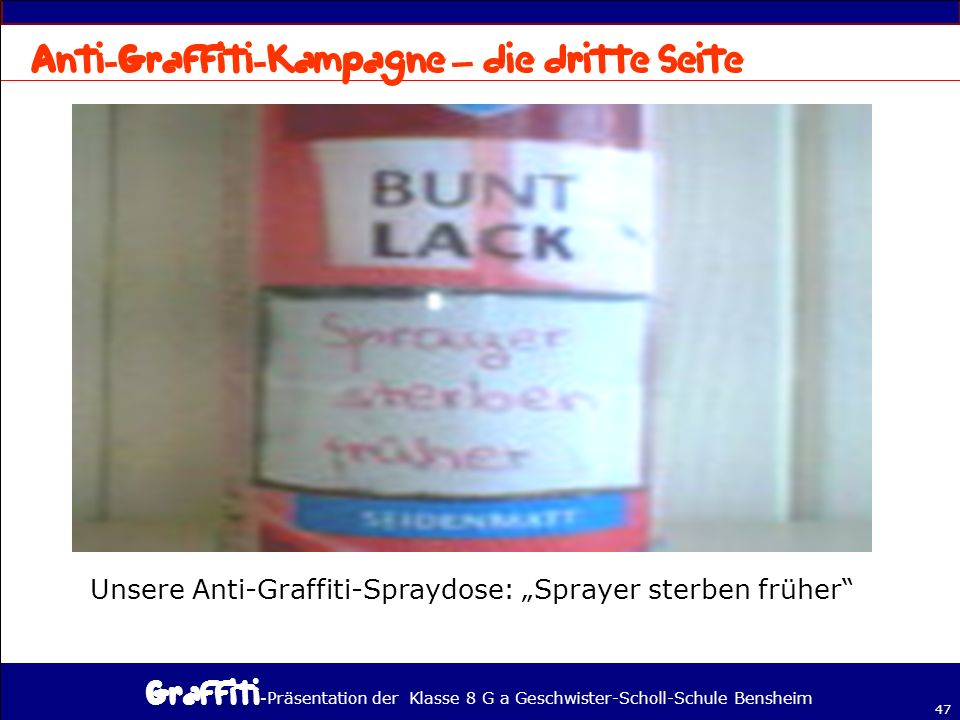 Anti-Graffiti-Kampagne – die dritte Seite