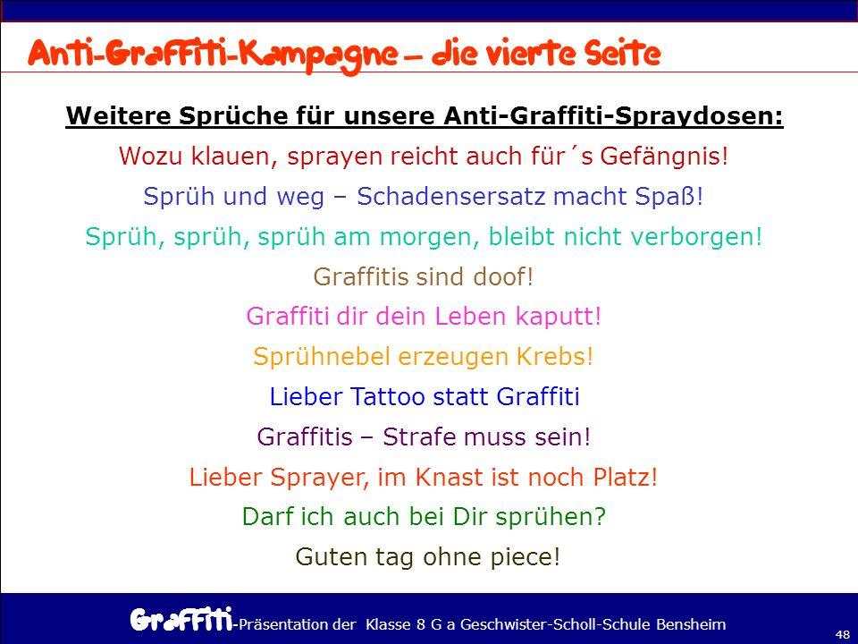 Weitere Sprüche für unsere Anti-Graffiti-Spraydosen:
