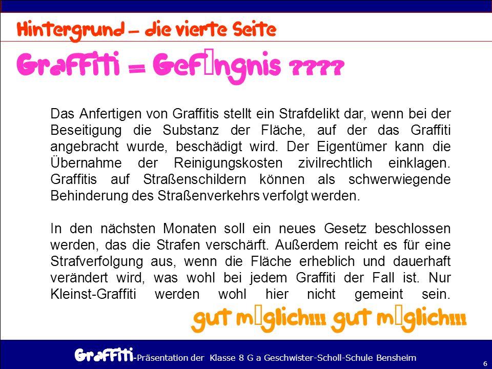 Graffiti = Gefängnis gut möglich!!! gut möglich!!!