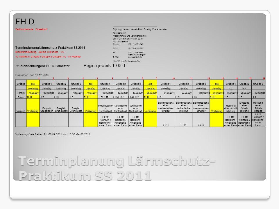 Terminplanung Lärmschutz-Praktikum SS 2011