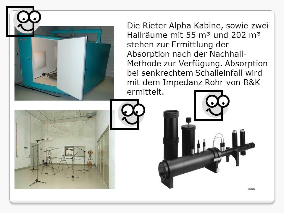Die Rieter Alpha Kabine, sowie zwei Hallräume mit 55 m³ und 202 m³ stehen zur Ermittlung der Absorption nach der Nachhall-Methode zur Verfügung.