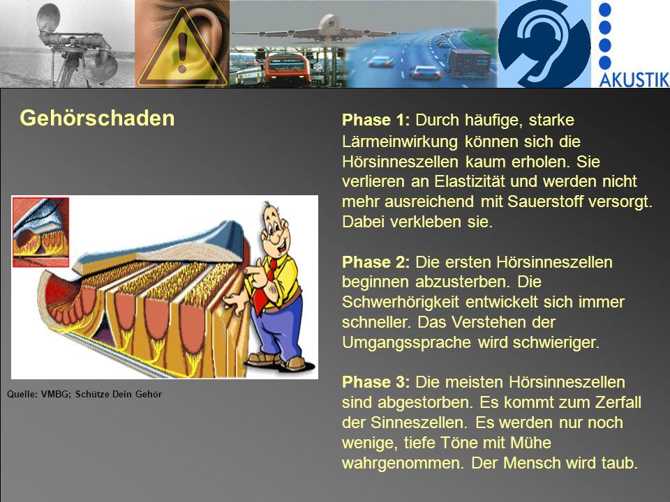 Gehörschaden. Phase 1: Durch häufige, starke