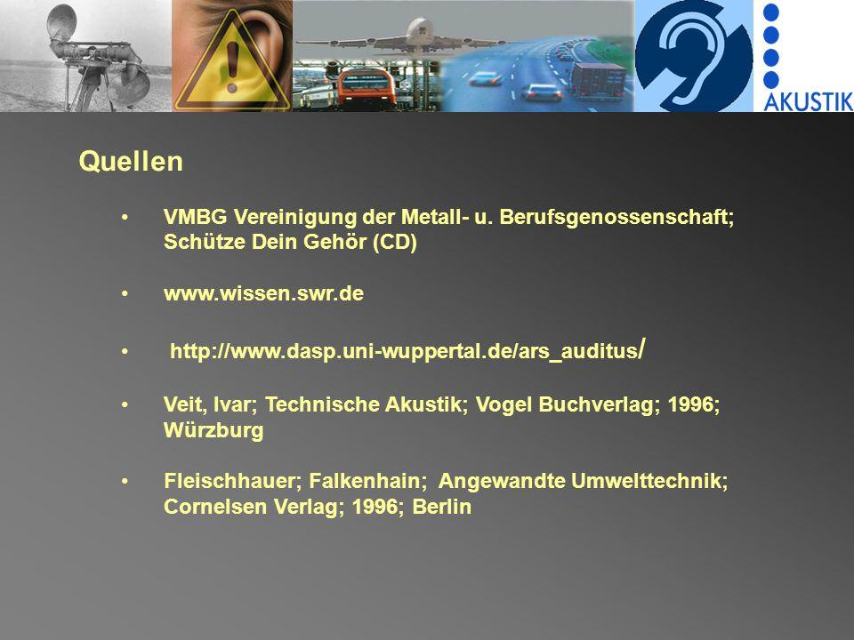 Quellen VMBG Vereinigung der Metall- u. Berufsgenossenschaft; Schütze Dein Gehör (CD) www.wissen.swr.de.