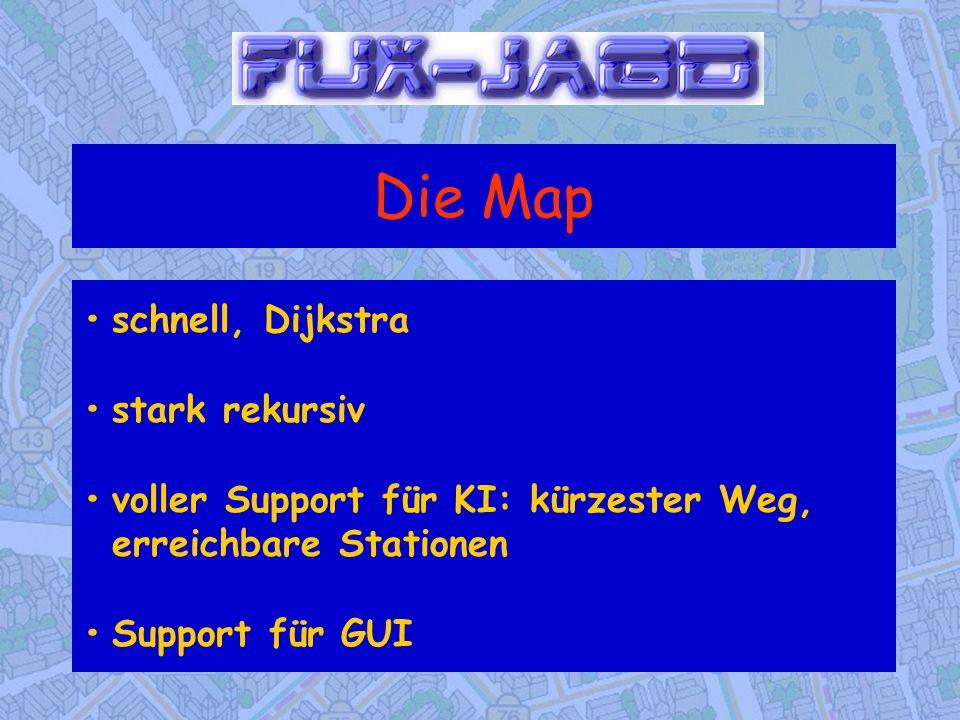 Die Map • schnell, Dijkstra • stark rekursiv • voller Support für KI: kürzester Weg, erreichbare Stationen • Support für GUI.