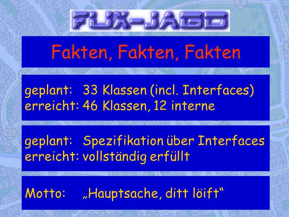 Fakten, Fakten, Fakten geplant: 33 Klassen (incl. Interfaces) erreicht: 46 Klassen, 12 interne.