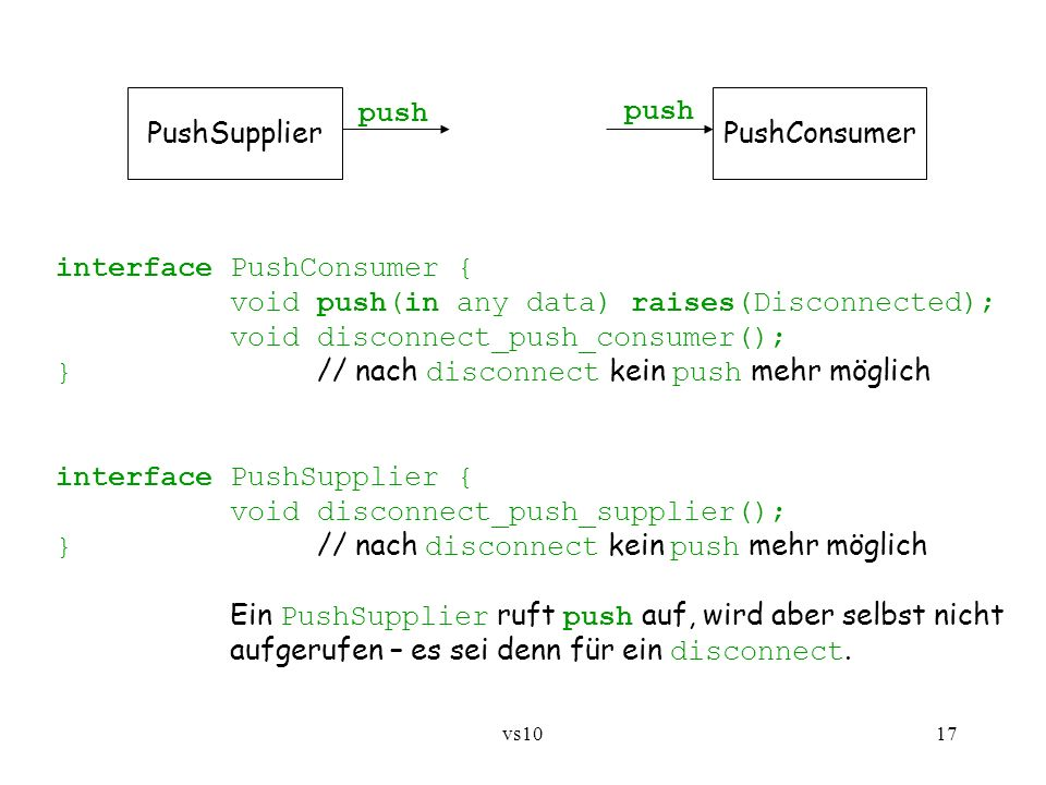 interface PushConsumer { void push(in any data) raises(Disconnected);