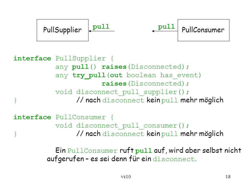 interface PullSupplier { any pull() raises(Disconnected);