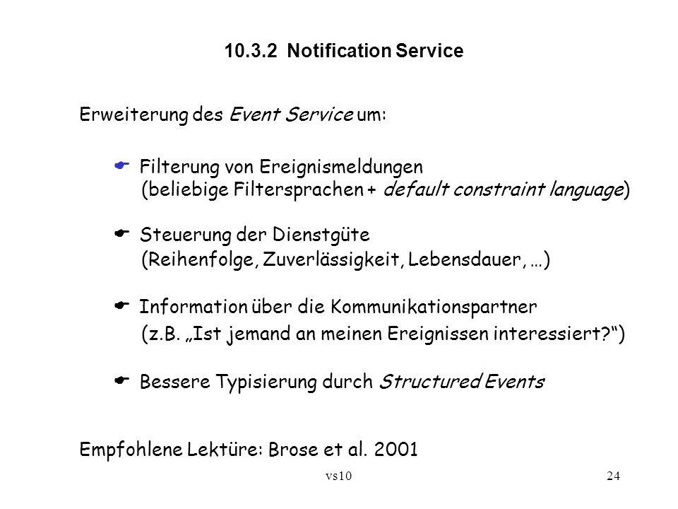 Erweiterung des Event Service um:  Filterung von Ereignismeldungen