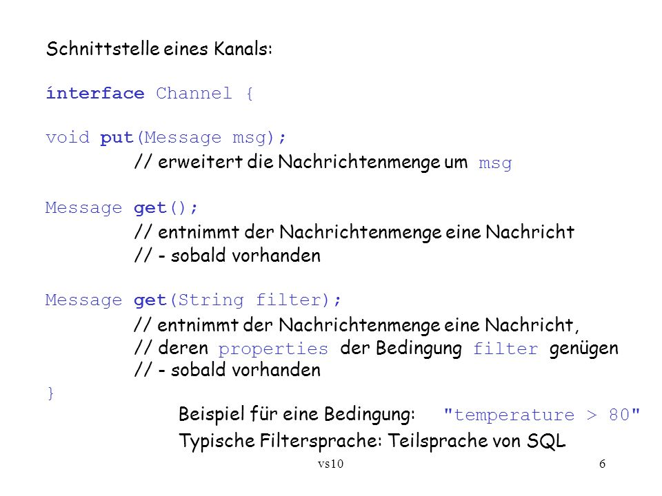 Schnittstelle eines Kanals: ínterface Channel { void put(Message msg);