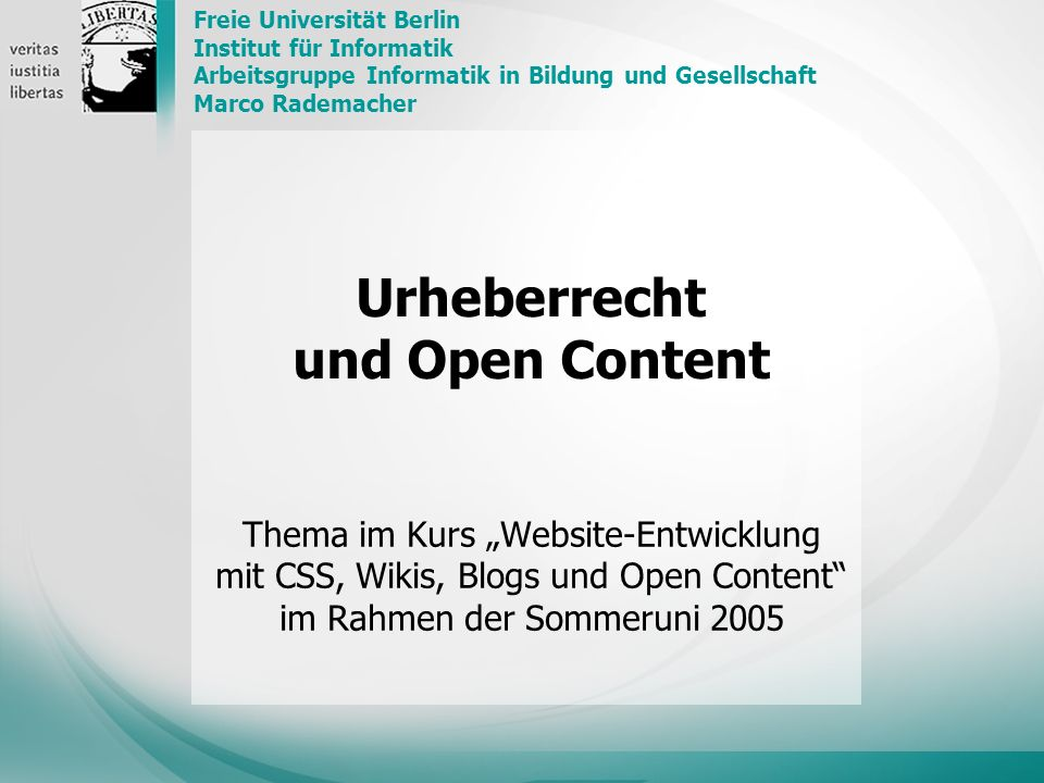 Urheberrecht und Open Content