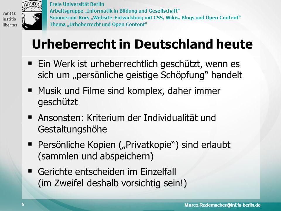 Urheberrecht in Deutschland heute