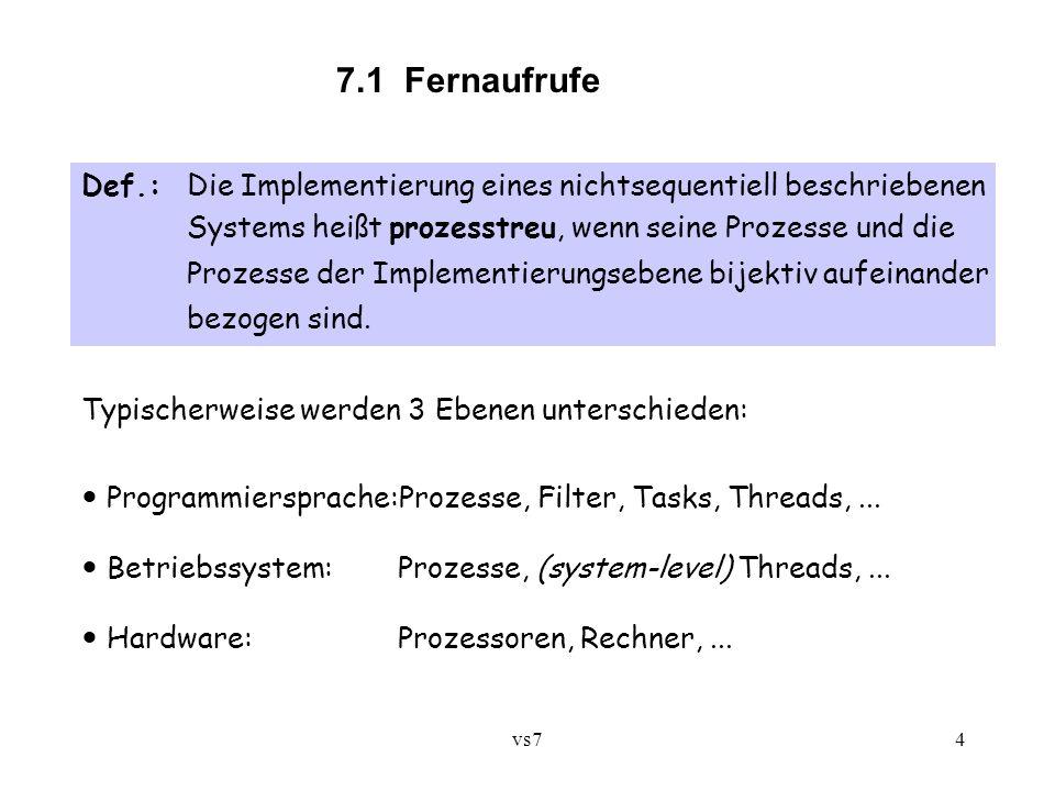 7.1 Fernaufrufe Def.: Die Implementierung eines nichtsequentiell beschriebenen. Systems heißt prozesstreu, wenn seine Prozesse und die.