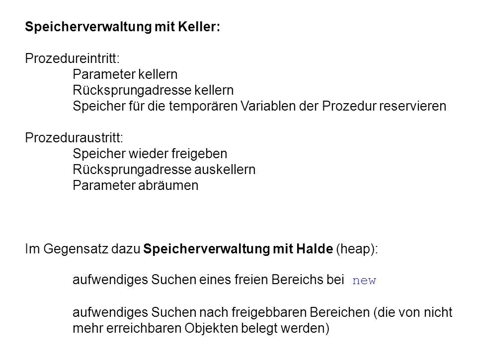 Speicherverwaltung mit Keller: